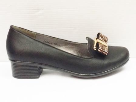 Pantofi Dama Negri Eleganti Cu  Toc Si Accesoriu Metalic Auriu