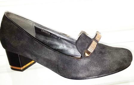 Pantofi dama negri, eleganti , cu toc de 3 cm, material imitatie piele intoarsa , cu accesorii metalice,