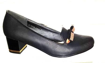 Pantofi dama negri, eleganti , cu toc de 3 cm, material imitatie piele , cu accesorii metalice,