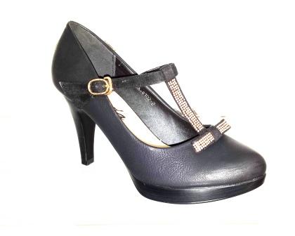 Pantofi dama negri, eleganti , cu toc de 7 cm, material imitatie piele, cu accesorii metalice,