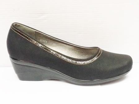 Pantofi dama negri eleganti cu talpa ortopedica si insertie material lacuit