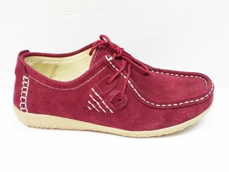 Pantofi dama grena sport, piele intoarsa naturala.