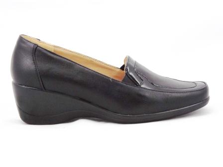 Pantofi dama negri imitatie piele, cu toc ortopedic de 5 cm