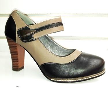 Pantofi dama negri cu bej, cu toc de 8 cm, material imitatie piele.