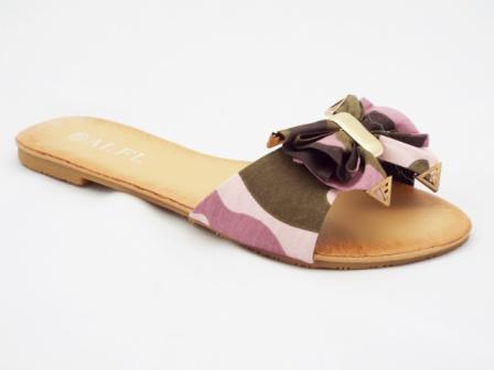 Papuci dama maro, model army, cu accesoriu tip fundita