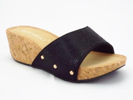 Papuci dama negri, talpa de pluta, cu strasuri
