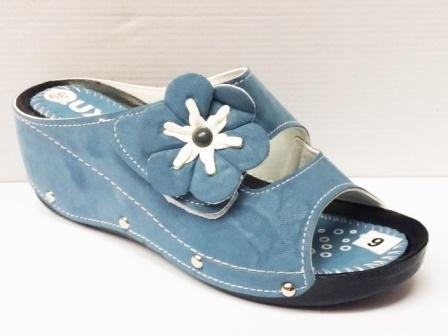 Papuci dama albastri, cu talpa ortopedica