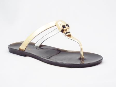 Papuci dama negru cu auriu, model cap schelet