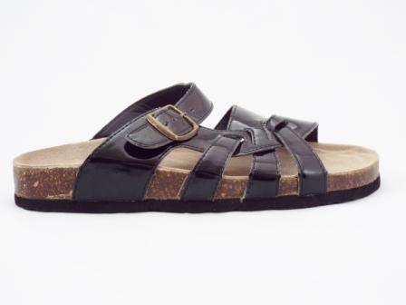 Papuci dama negri, lacuiti, interior din piele