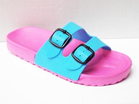 Papuci dama plaja roz cu turcoaz