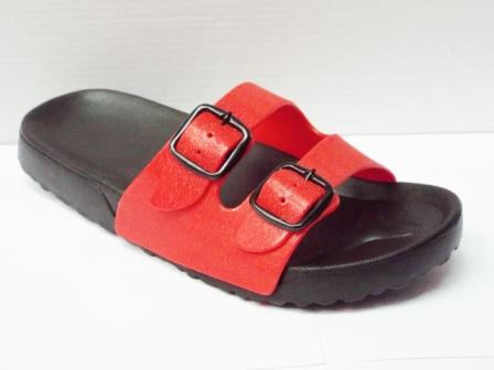 Papuci dama plaja negri cu rosu