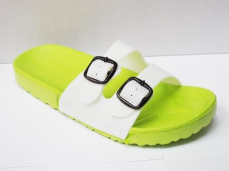 Papuci dama plaja verzi cu alb