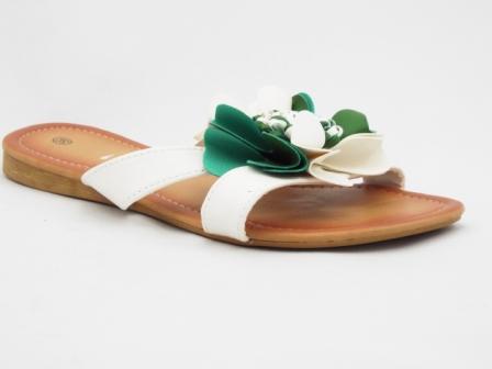 Papuci dama albi, accesoriu floare culoare verde