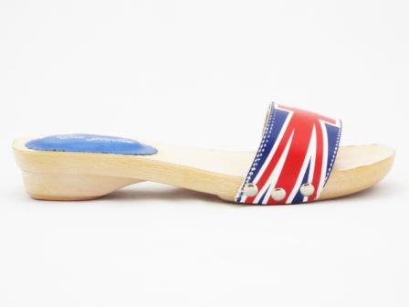 Papuci dama rosu cu albastru, imitatie talpa de lemn