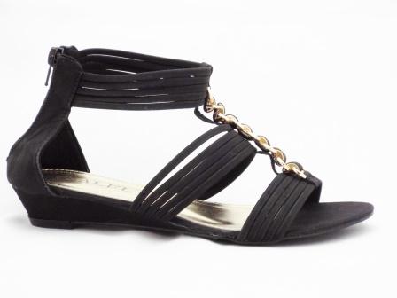 Sandale dama negre cu talpa ortopedica si accesoriu metalic auriu tip lant