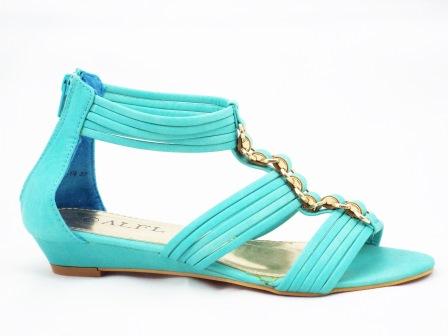 Sandale dama albastru-turcoaz cu talpa ortopedica si accesoriu metalic auriu tip lant