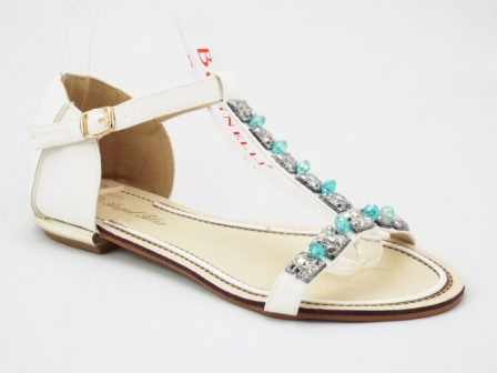 Sandale dama albe cu pietre tip swarovski
