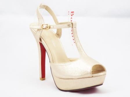 Sandale dama bej auriu, cu toc de 9 cm si platforma