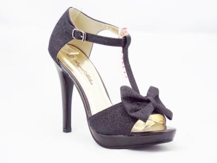 Sandale dama negre, sidefate, cu toc de 9 cm si platforma