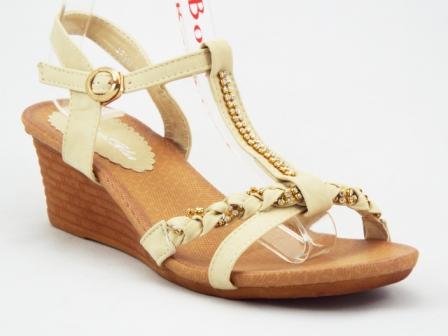 Sandale dama bej cu talpa ortopedica si strasuri tip swarovski