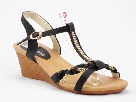 Sandale dama negre cu talpa ortopedica si strasuri tip swarovski