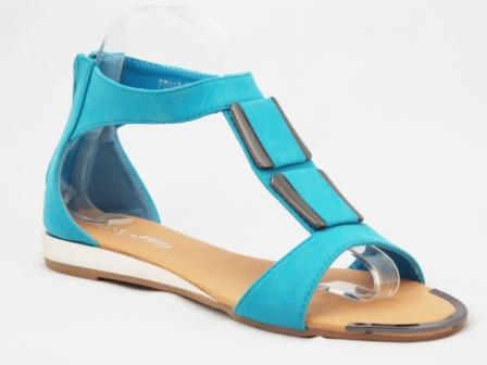 Sandale dama albastru turcoaz cu accesorii metalice