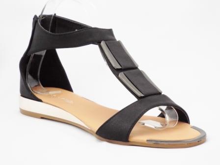 Sandale dama negre cu accesorii metalice