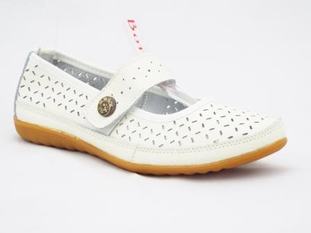 Sandale dama albe, din piele, cu perforatii si talpa sport