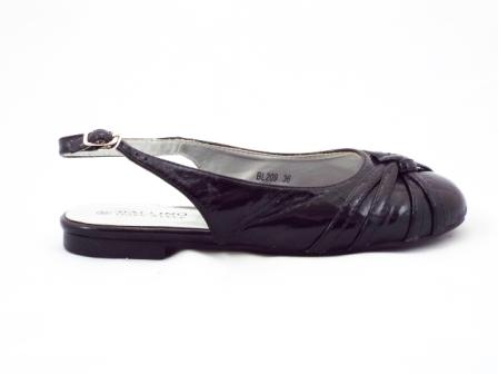 Sandale dama negre, material lacuit, decupate in spate