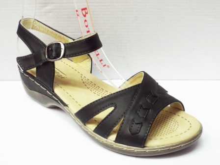 Sandale dama negre, toc de 3 cm, ortopedice