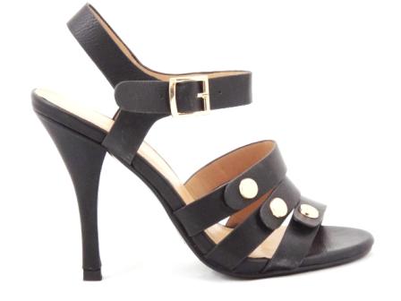 Sandale dama negre, elegante,cu toc de 10 cm, cu barete si accesorii aurii