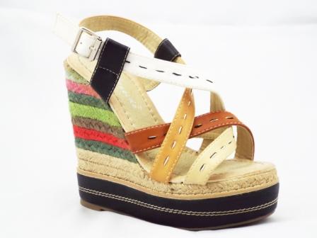 Sandale dama bej cu insertii muticolore, toc de 13 cm si platforma de 4 cm