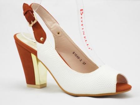 Sandale dama albe cu parti de culoare maro, toc de 8 cm