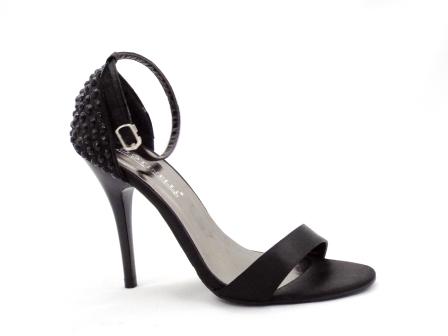 Sandale dama negre elegante, cu toc inalt
