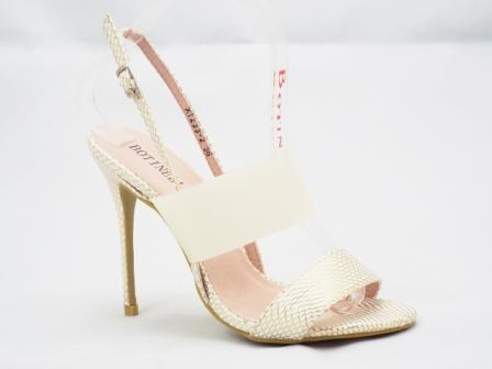 Sandale dama albe cu model auriu, toc de 9 cm, cu banda silicon