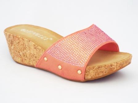 Papuci dama roz, talpa de pluta, cu strasuri