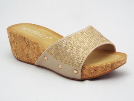 Papuci dama bej, talpa de pluta, cu strasuri