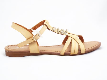 Sandale dama bej cu accesorii metalice aurii