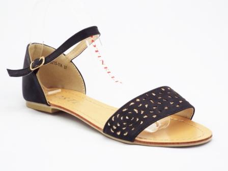 Sandale dama negre cu insertii de culoare aurie