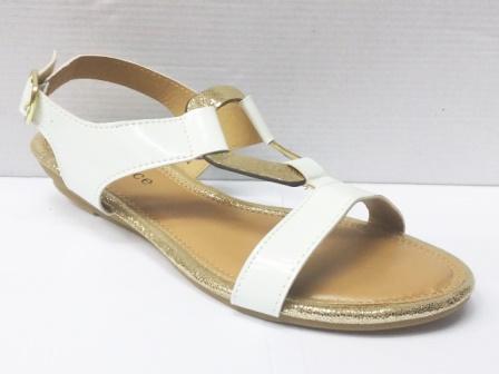 Sandale dama albe cu model frontal auriu