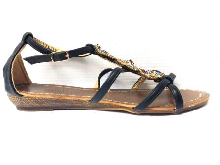 Sandale dama negre cu strasuri montate pe un accesoriu tip romb