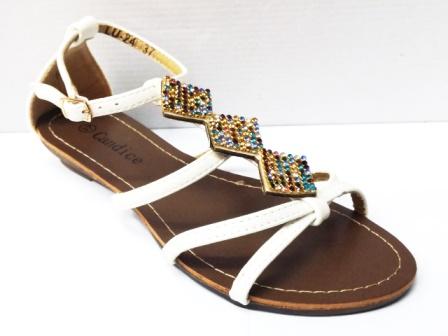 Sandale dama albe cu strasuri montate pe un accesoriu tip romb