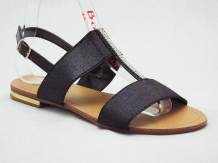 Sandale dama negre, cu accesoriu strasuri