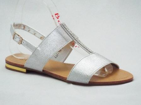 Sandale dama argintii, cu accesoriu strasuri