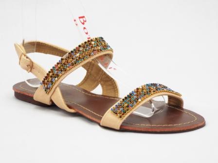 Sandale dama bej, cu strasuri multicolore