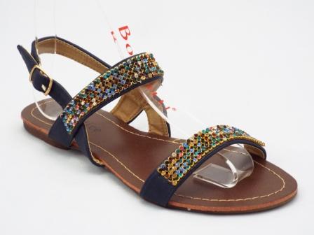 Sandale dama negre, cu strasuri multicolore