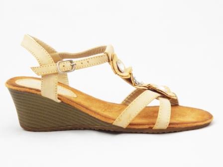 Sandale dama bej , toc de 5 cm, ortopedice