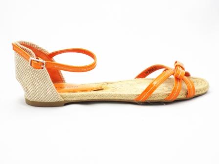 Sandale dama portocalii din material lacuit si panza