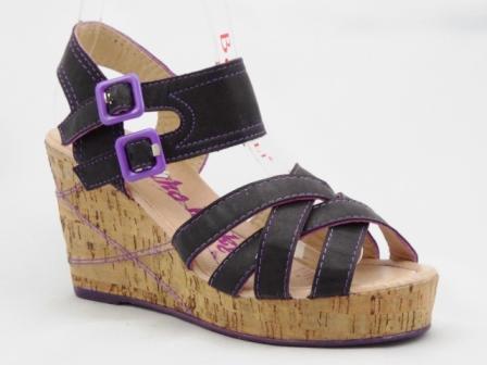 Sandale dama negre cu insertii de mov, talpa ortopedica si catarame reglabile
