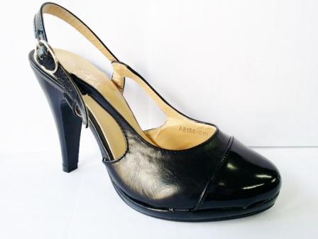 Sandale dama negre, toc de 6 cm, cu accesoriu frontal